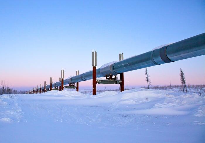 A pipeline traversing through snowy terrain.