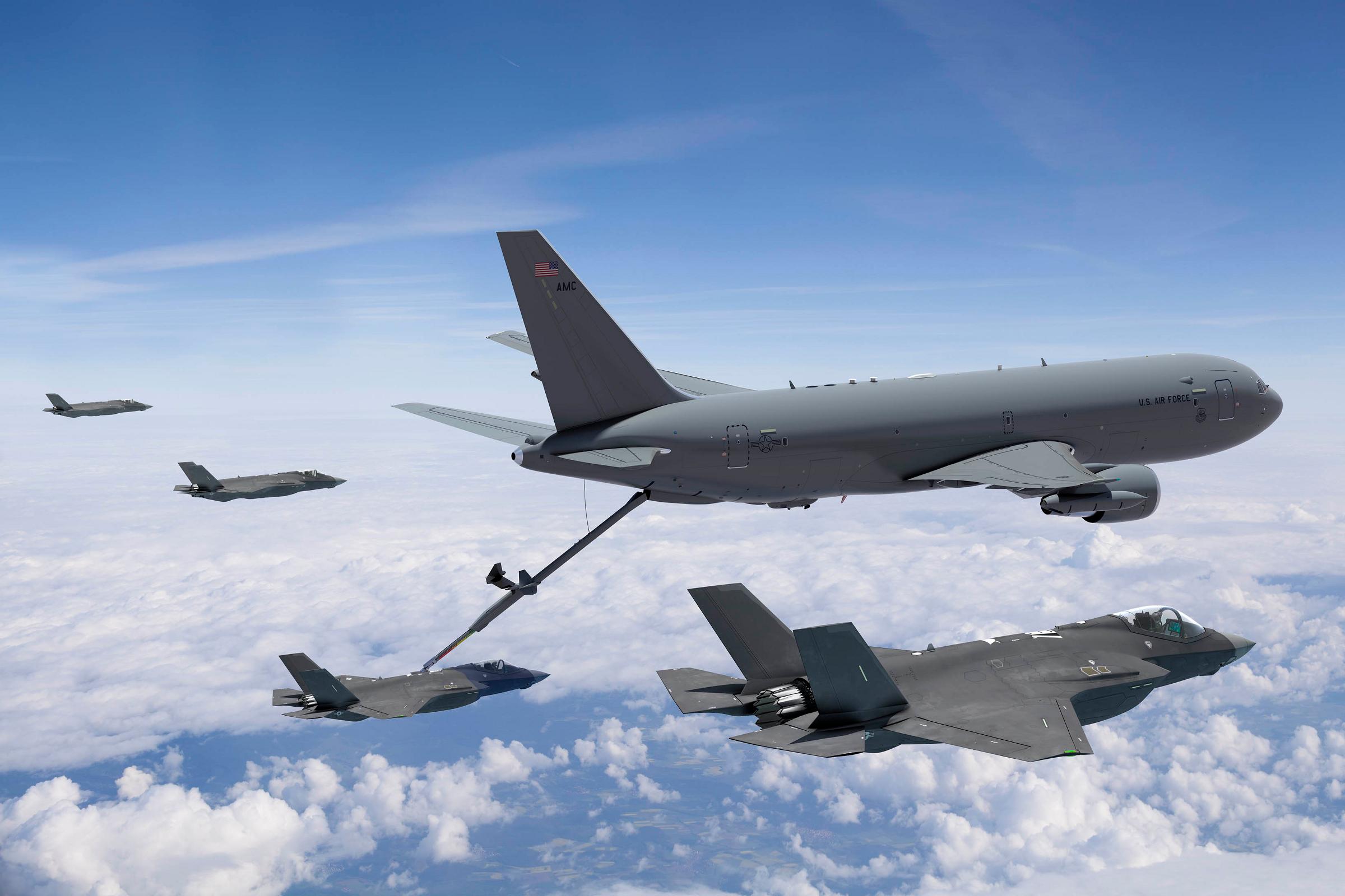 Rendering of a KC-46 refueling a fighter mid-flight.