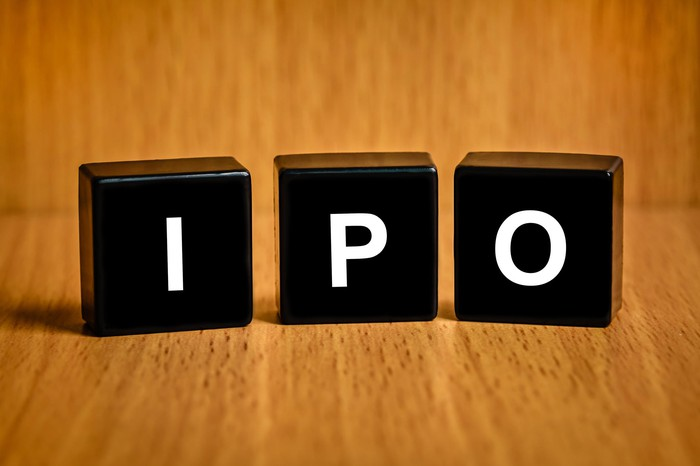 IPO spelled out in block letters