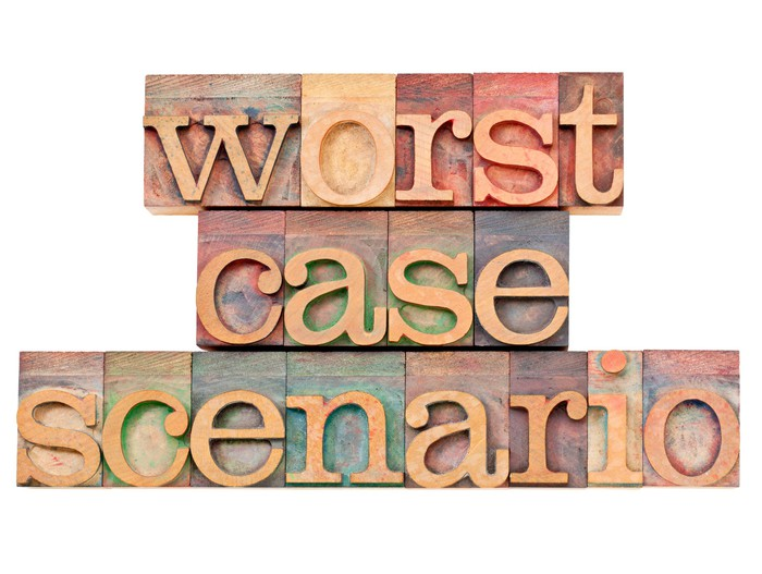 Worst case scenario spelled out on wooden blocks