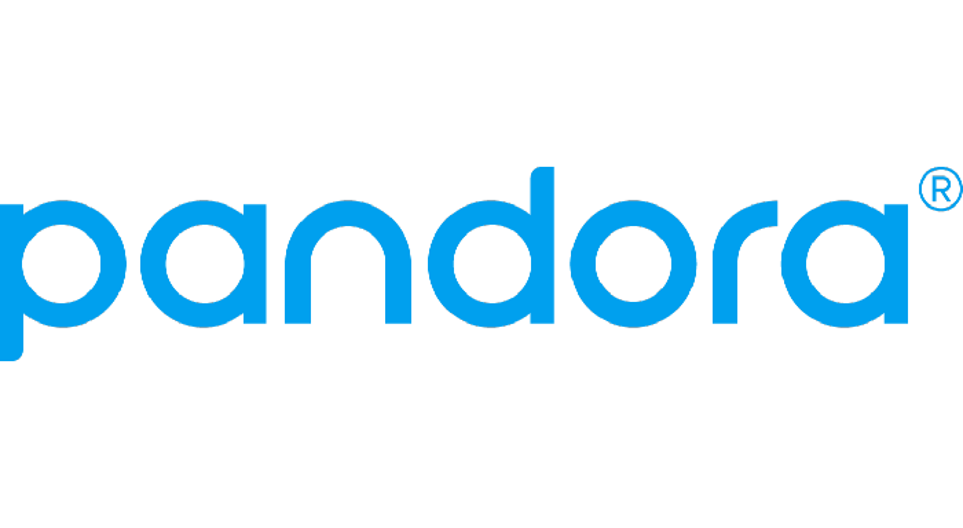 The Pandora logo in light blue
