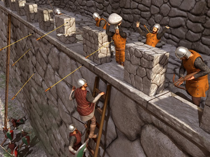Depiction of a siege to a medieval castle.