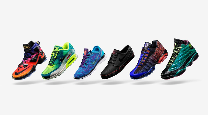 A lineup of Nike shoes.
