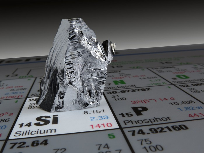 A piece of silicon metal on the periodic table of elements.