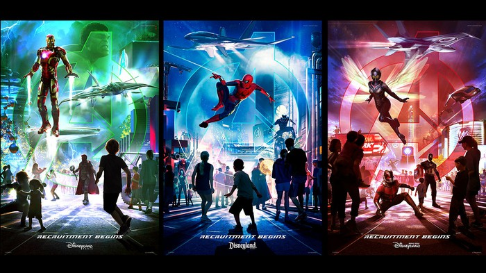Disney promotional artwork for three announced Marvel lands.