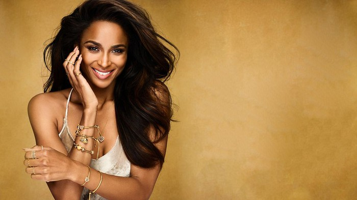 The singer Ciara poses wearing Pandora's Shine collection jewelry.