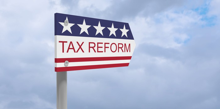 Red, white, and blue tax reform sign