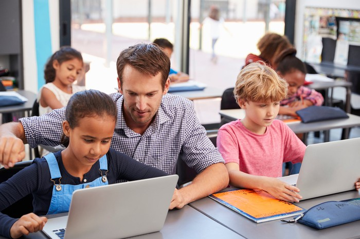 Children in class learning from a computer.