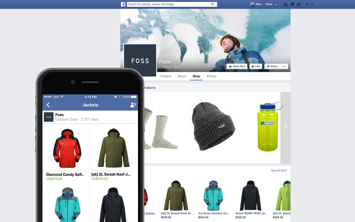 Shopify's Facebook shop builder on mobile and desktop.