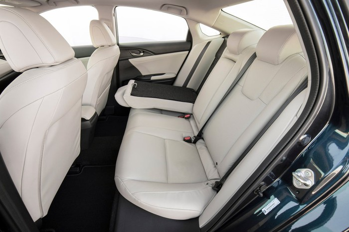 A view of the Insight's back seat, showing a fair amount of legroom for a compact sedan.