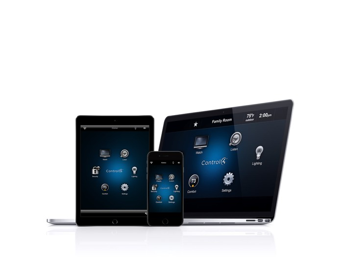 Control4 app on laptop, notebook, and smartphone.