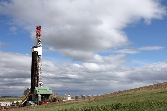 Oil rig in the Bakken shale field of North Dakota.