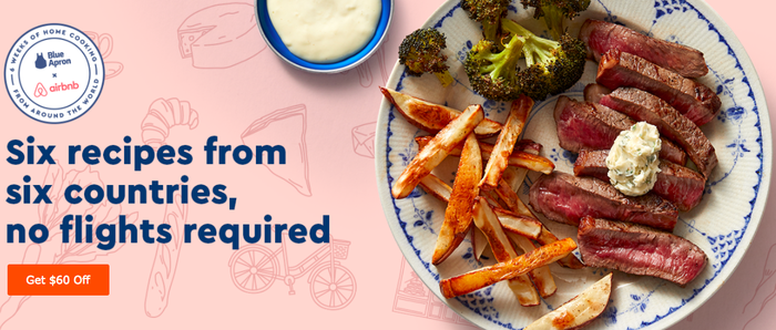 Landing page for Blue Apron's six-week international promo, with a blue-and-white plate of sliced steak, fries, and broccoli florets.