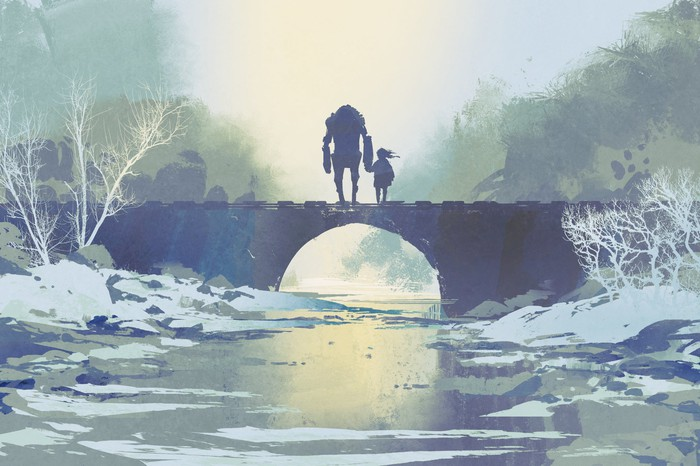 A robot stands on an icy bridge with a little girl.