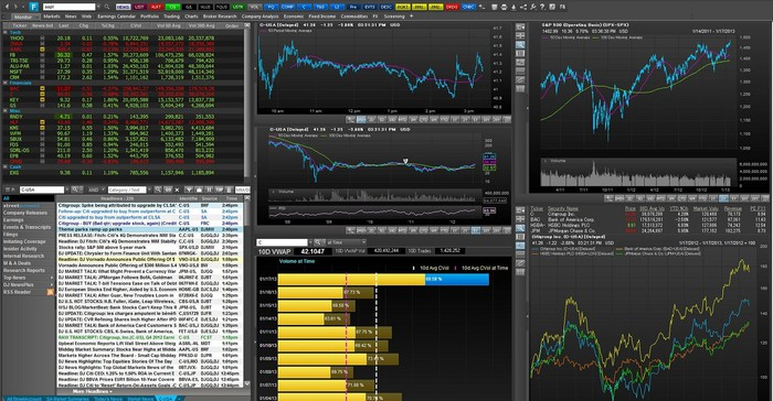 Six screens showing various types of financial data and graphs.