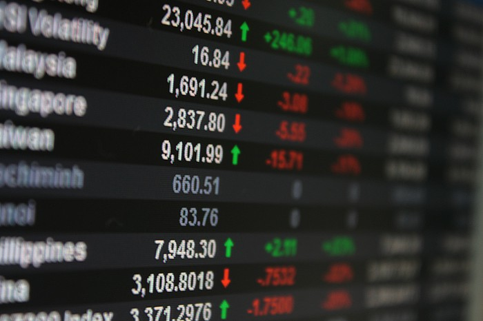 Stock market index prices displayed on an LED screen