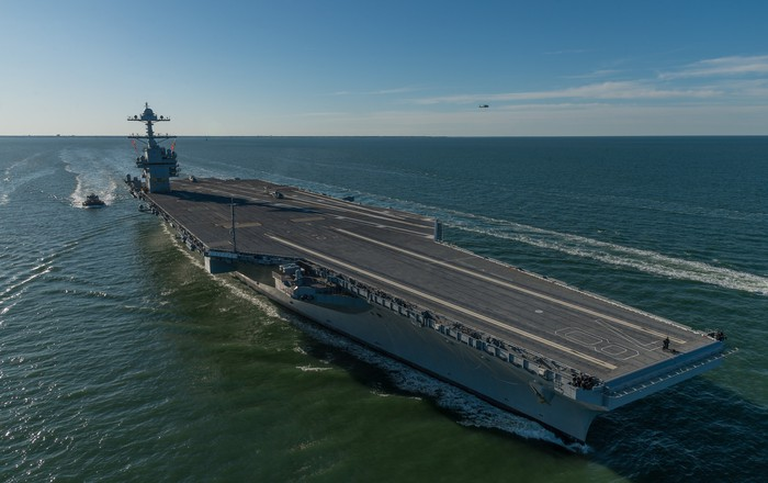 The USS Gerald R Ford at sea