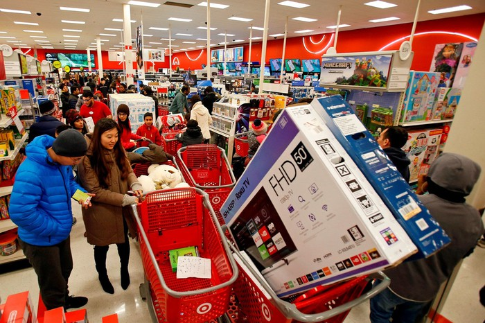 Shoppers in a Target store.
