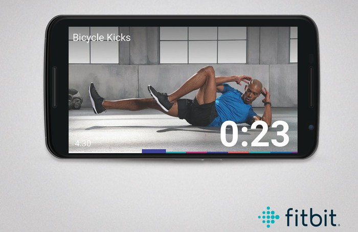 Mobile phone screen with bicycle kick exercise being demonstrated with a countdown timer shown.