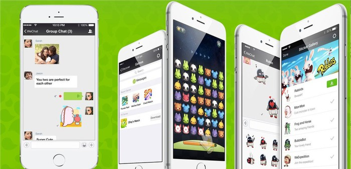 WeChat's mobile app displayed on five smartphones side by side