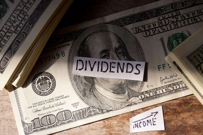 The word dividends on a piece of paper on top of a $100 bill and the word income on another piece of paper next to that bill