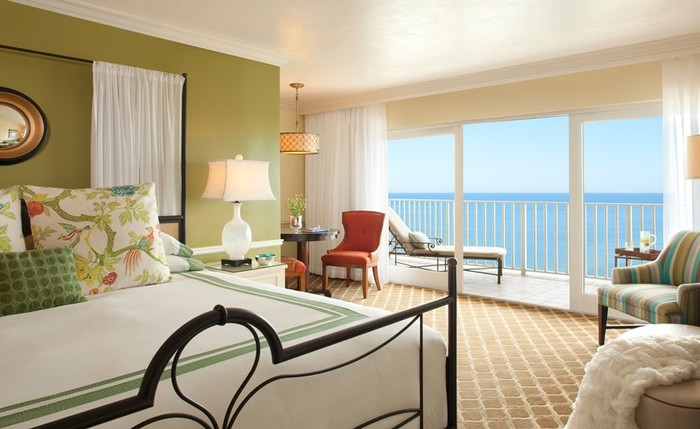 Hotel room with ocean view in Pebblebrook's LaPlaya Beach Resort & Club property.