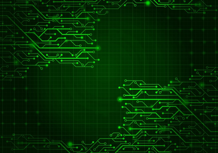 Graphic composed of green lines that look like a computer motherboard