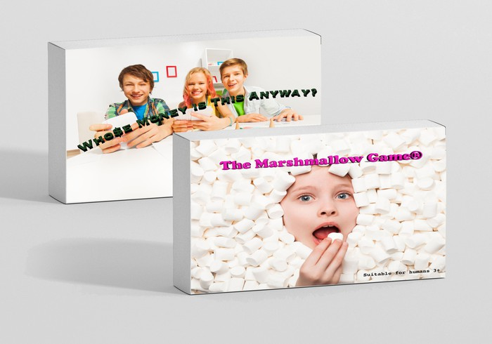 """Two game boxes with children on the front. In one, three kids are playing a board game and the title says, """"whose money is this anyways?"""" On the other, a child is surrounded by marshallows and is eating a marshmallow, and the title is """"The marshmallow game."""""""