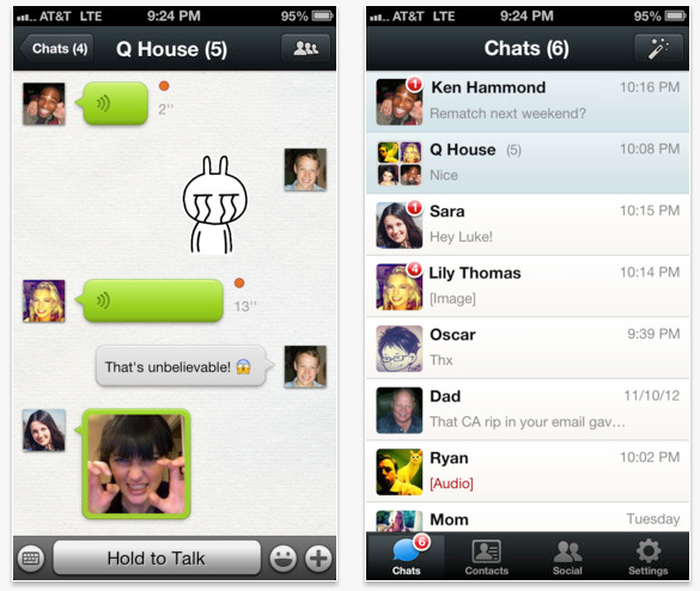 View of a social app on a smartphone.