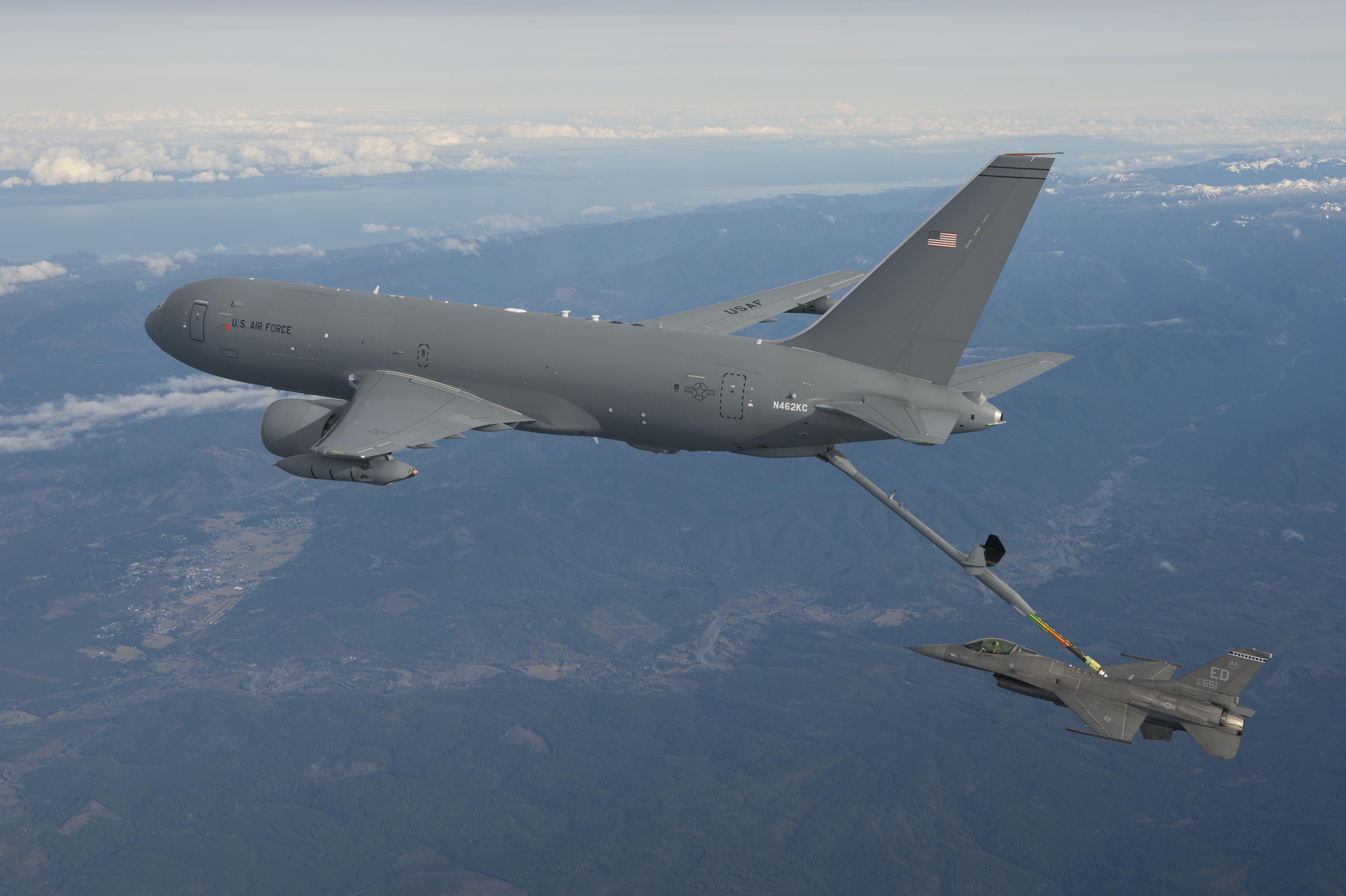 KC-46 tanker refuels an F-16