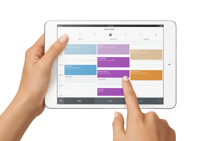 Square's Appointments schedule app on a tablet.