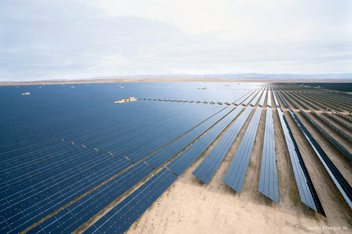 Large-scale solar farm in the desert.