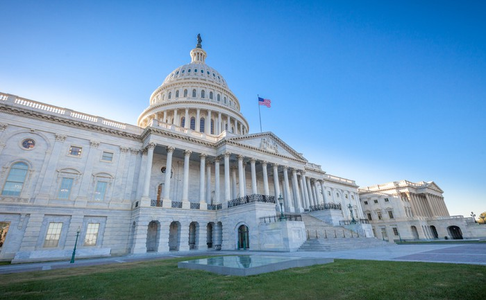 The facade of the Capitol building in Washington D.C.