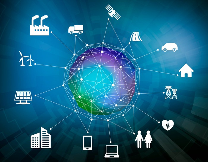 Icons of various things -- a car, truck, house, heart, factory, office building, and more -- connected to a center net that connects each thing to everything else