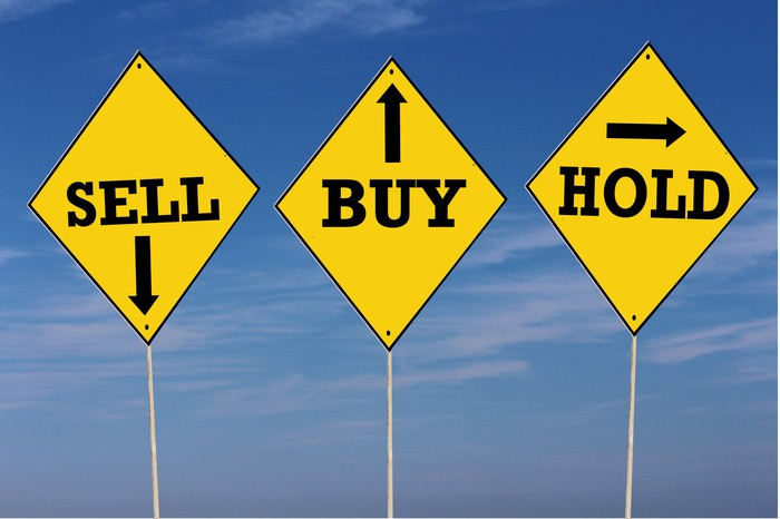 Three signs stand side by side with the words buy, sell, and hold with arrows written on them.
