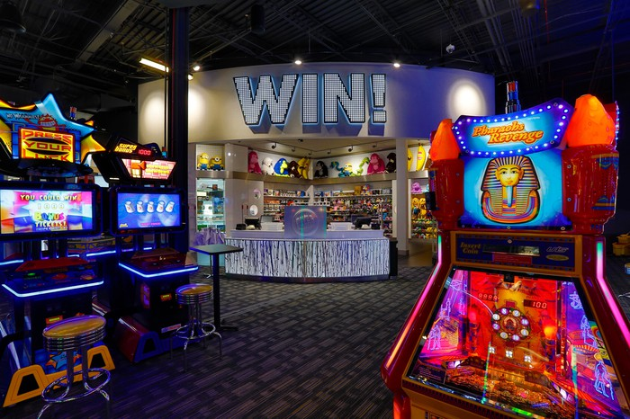 The Million Dollar Arcade at Dave & Buster's with the redemption area in the background.