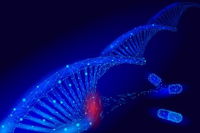A cartoon illustration showing a DNA molecule.
