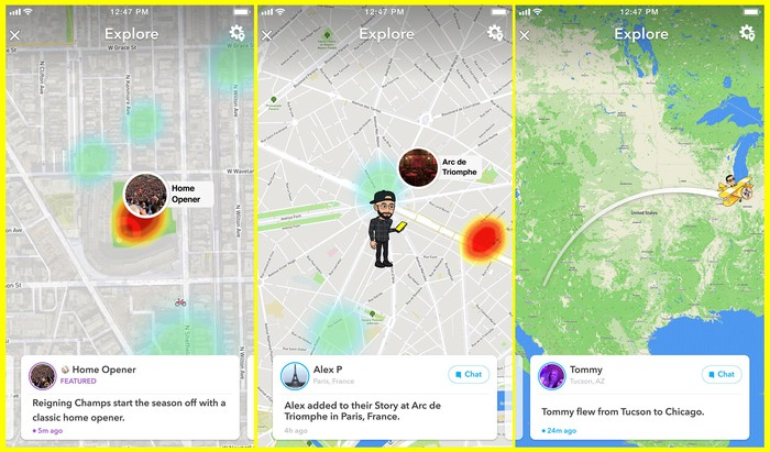 Three screensshots from the new Snapchat map.