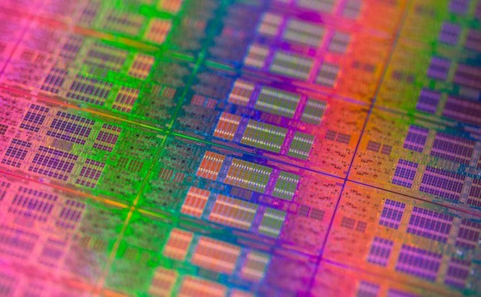 A wafer of Intel data center processors.