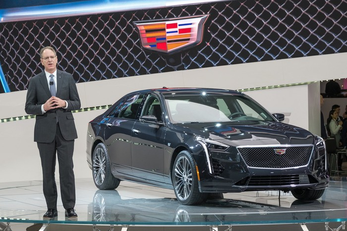 De Nysschen is shown presenting the new Cadillac CT6 V-Sport sedan at the New York International Auto Show on March 28, 2018.