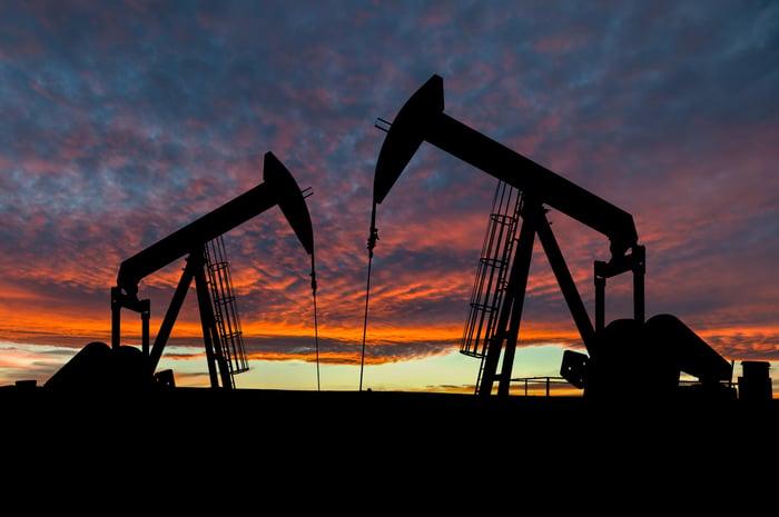 Oil pumps against an orange-blue sunset