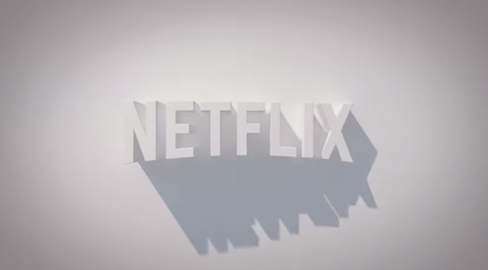 A 3D rendering of the Netflix logo, casting oblique shadows on a gray background.