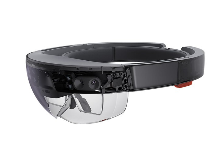 The Microsoft HoloLens, a thick headband with goggles on the front that displays information to the wearer.
