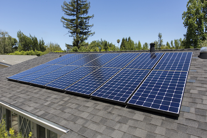 Residential roof with solar.