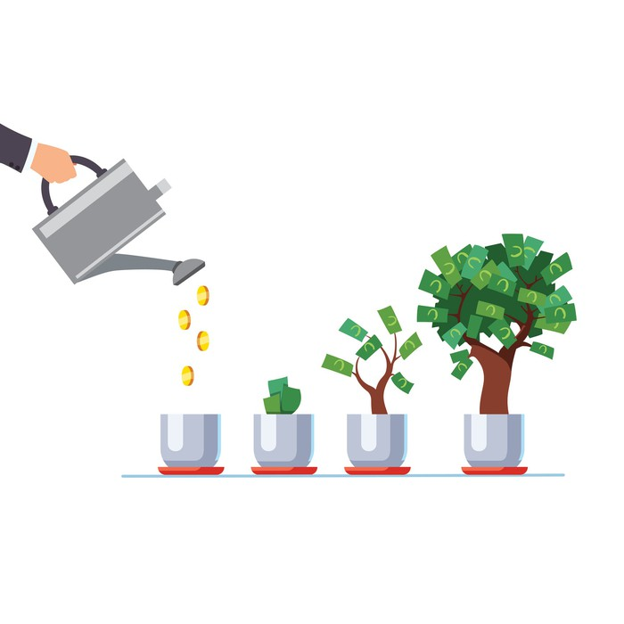 Illustration of someone watering a money tree.