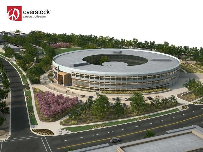 Overstock's iconic O-shaped Peace Coliseum.
