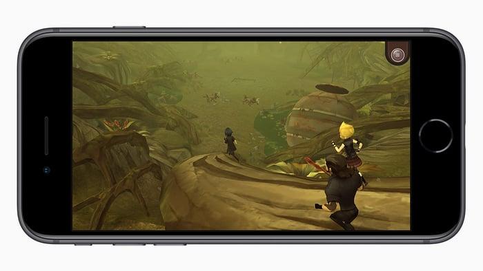 An Apple iPhone 8 running a complex 3D game.