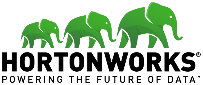 Hortonworks logo with green elephants linking noses.