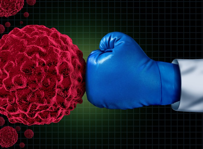 Boxing glove punching cancer cell