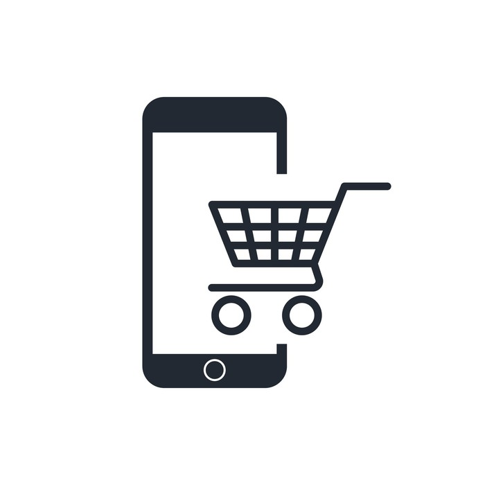 An illustration of a shopping cart and a mobile phone.